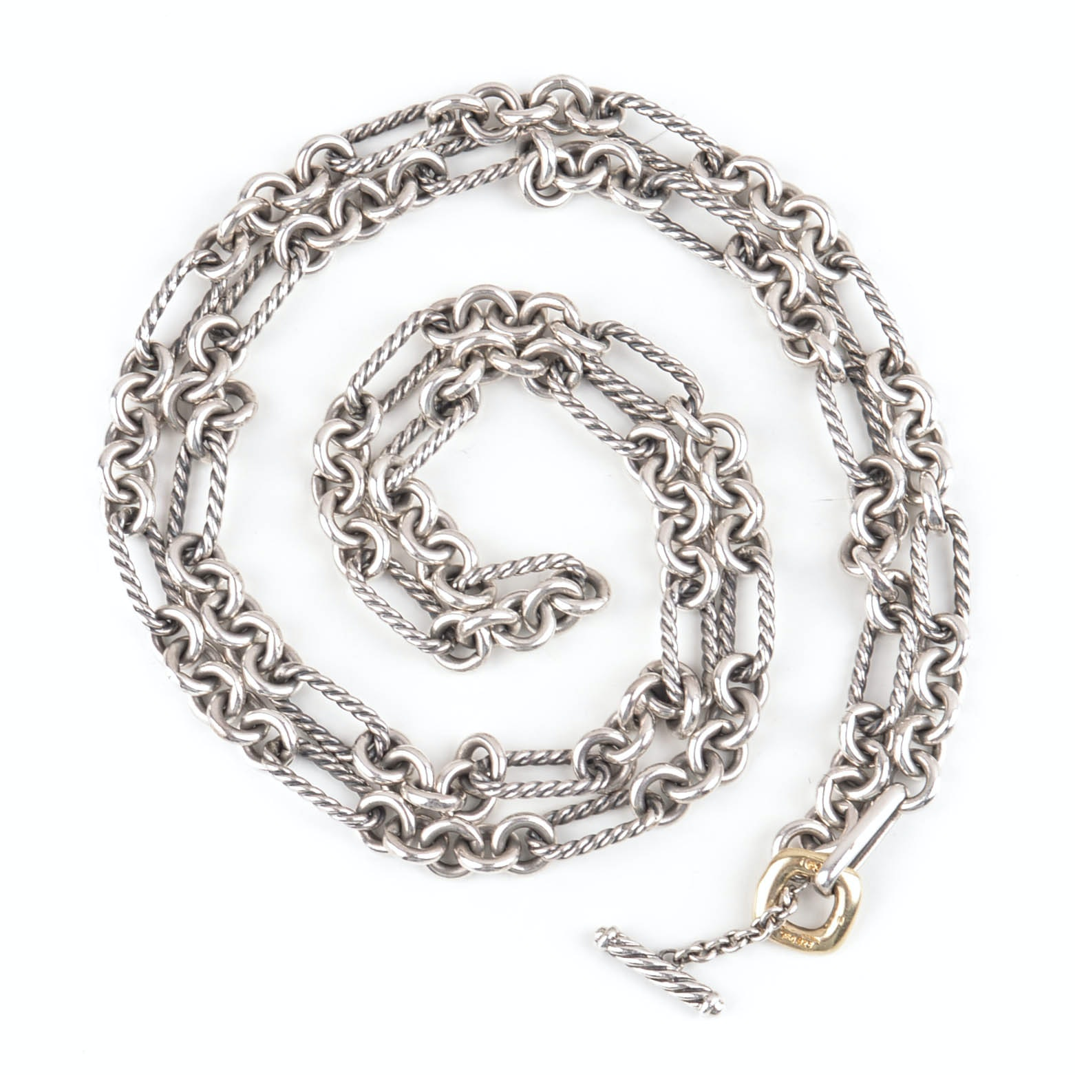 David Yurman Sterling Silver and  18K Yellow Gold Rolo Chain Necklace