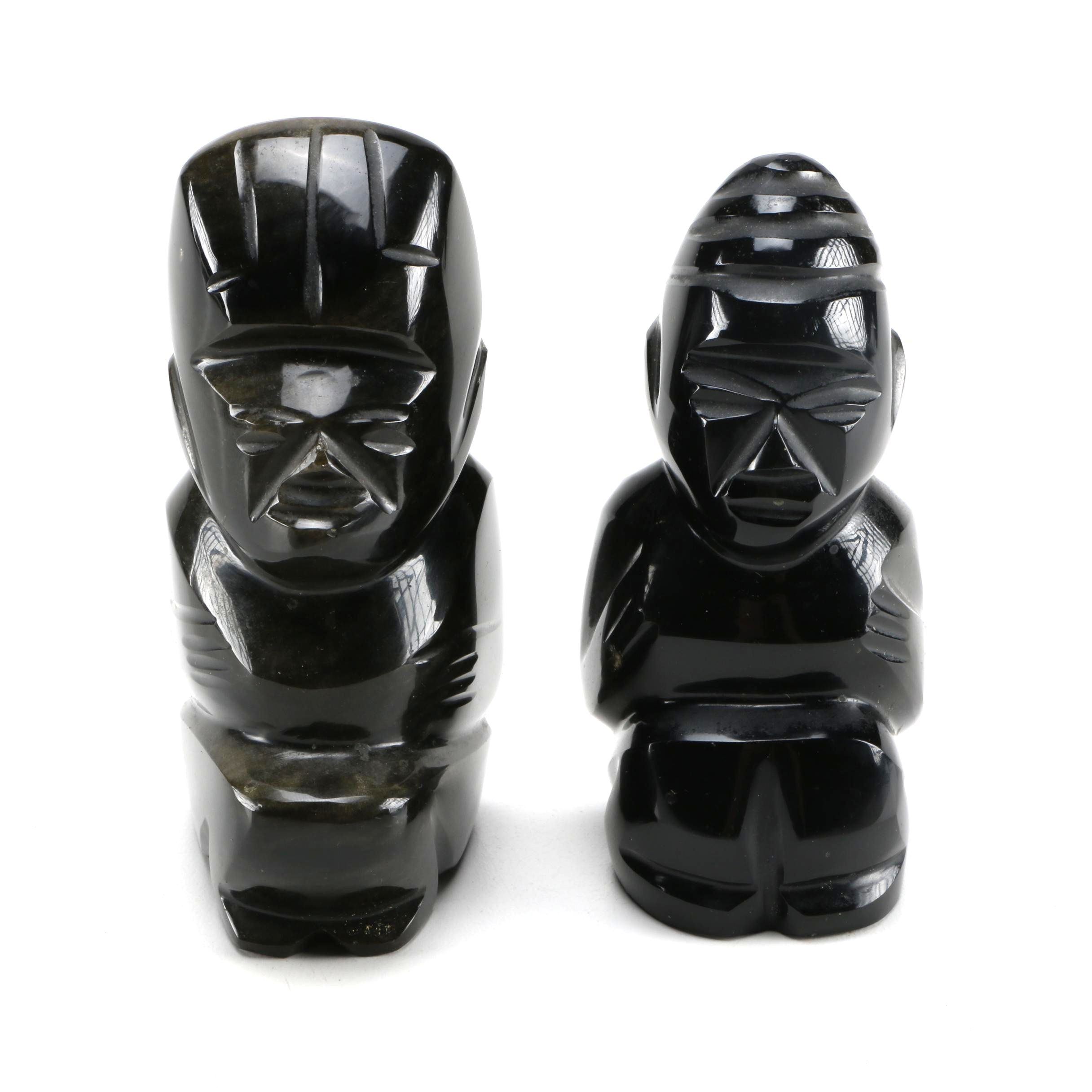 African Inspired Carved Obsidian Figurines