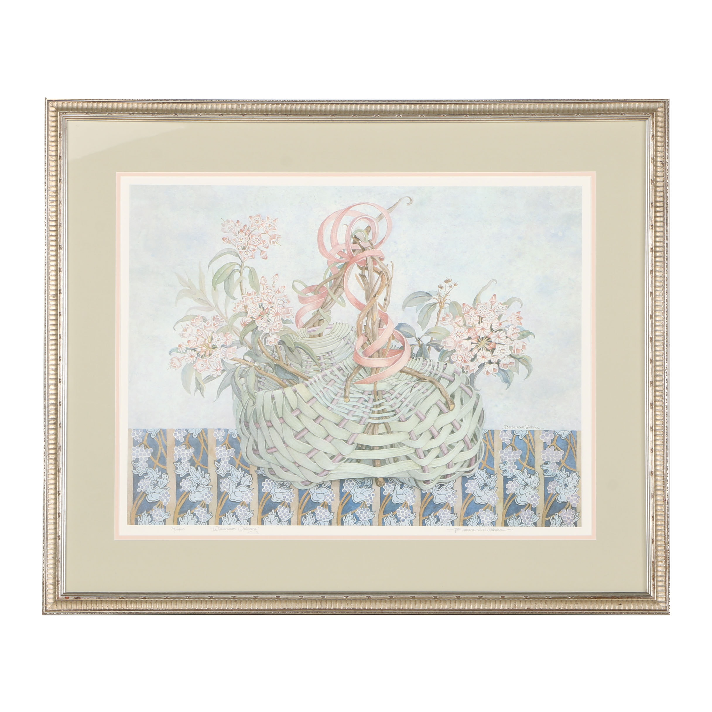 "Barbara Van Winkelen Limited Edition Offset Lithograph ""Wickerware Whimsey"""