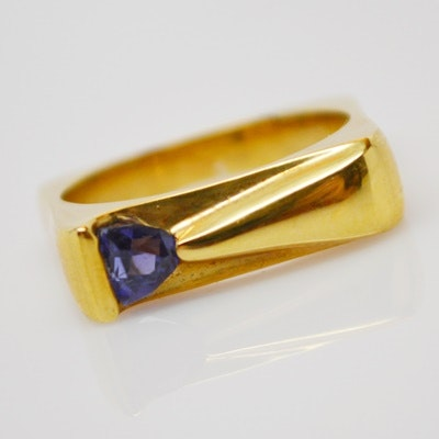 Raul Haas Contemporary 18K Yellow Gold Tanzanite Ring
