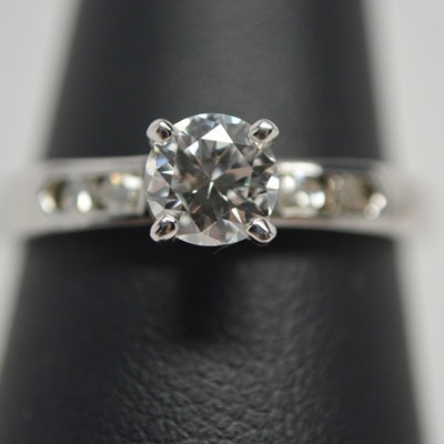 14K White Gold 0.59 CTW Diamond Ring