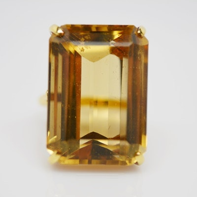 18K Yellow Gold 29.00 CTS Citrine Ring