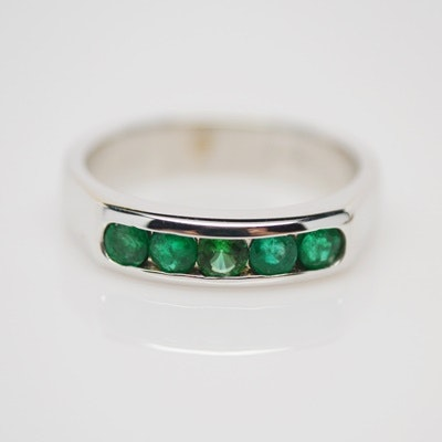 14K White Gold Emerald and Glass Ring