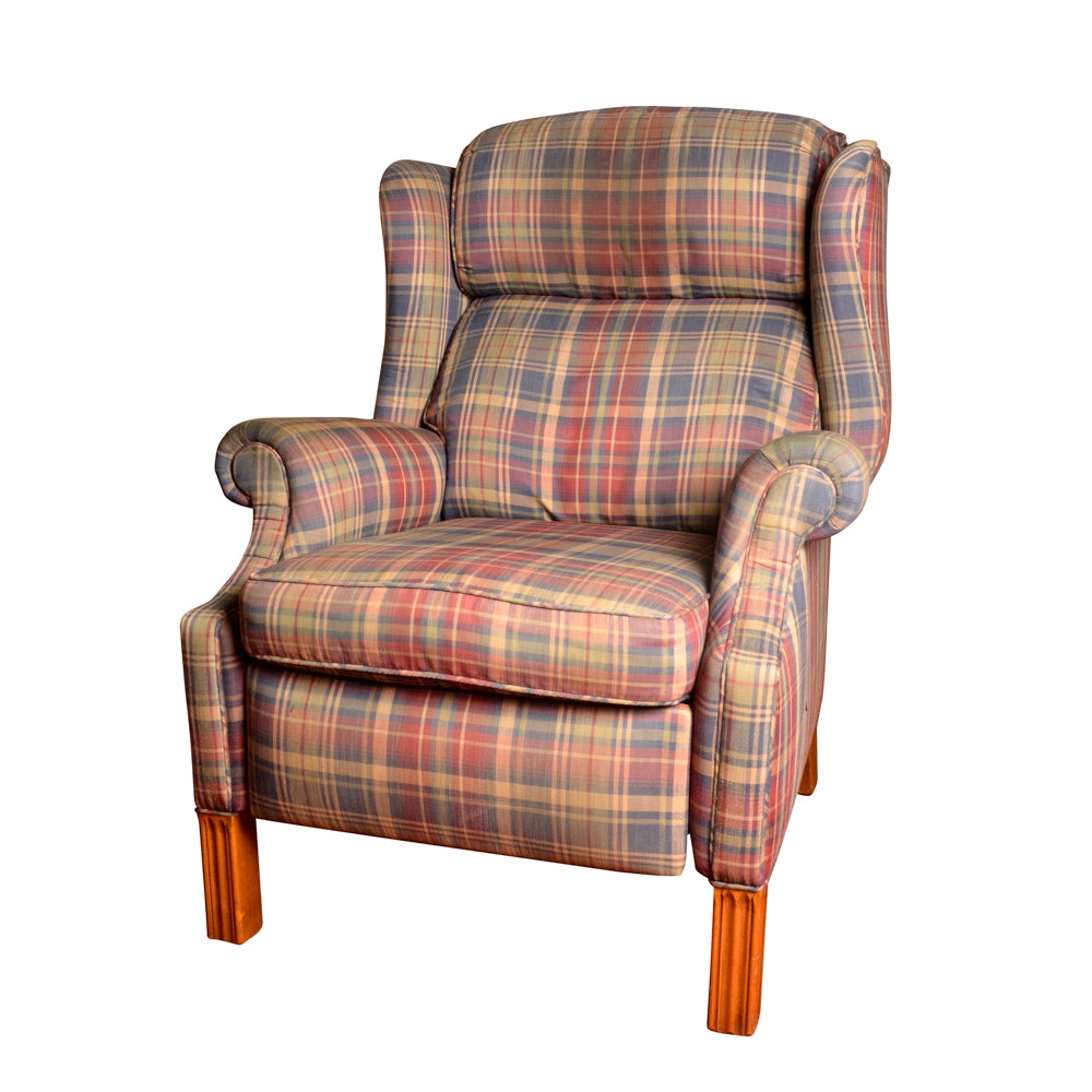 Plaid Reclining Wingback Chair ...  sc 1 st  Everything But The House & Plaid Reclining Wingback Chair : EBTH islam-shia.org