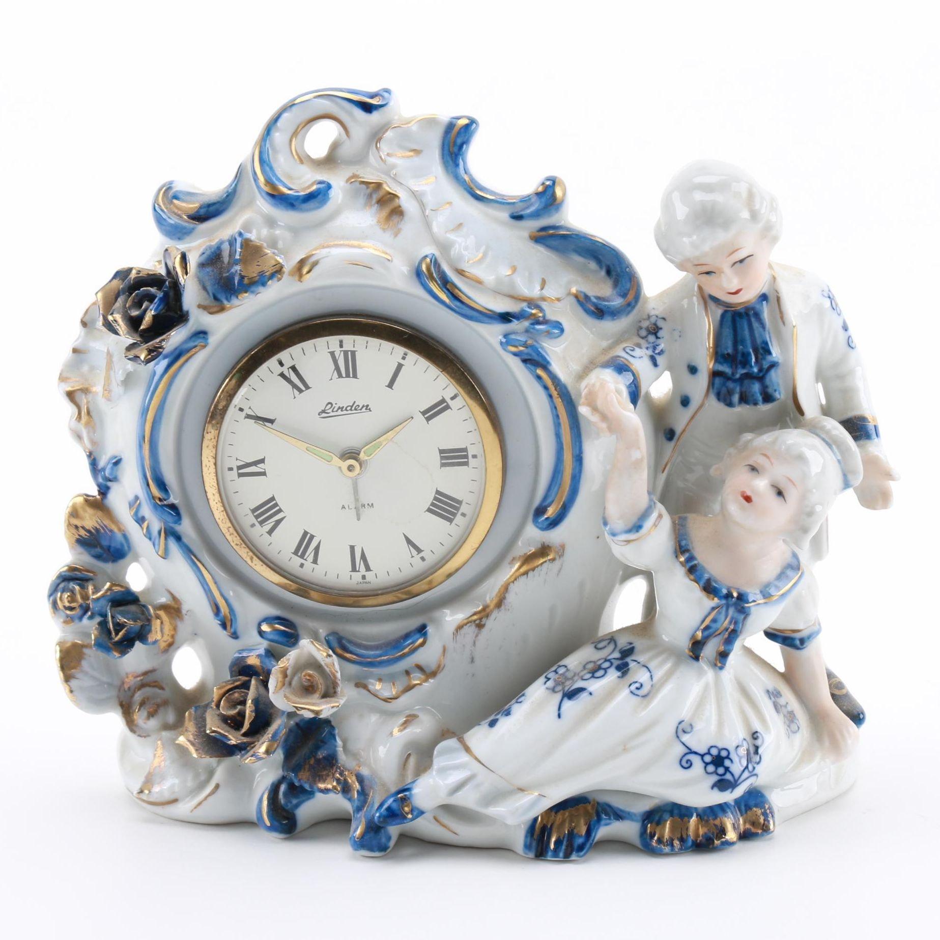 Linden Porcelain Figural Desk Clock