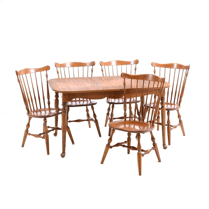 Mid Century Dining Set With Ethan Allen Chairs Ebth