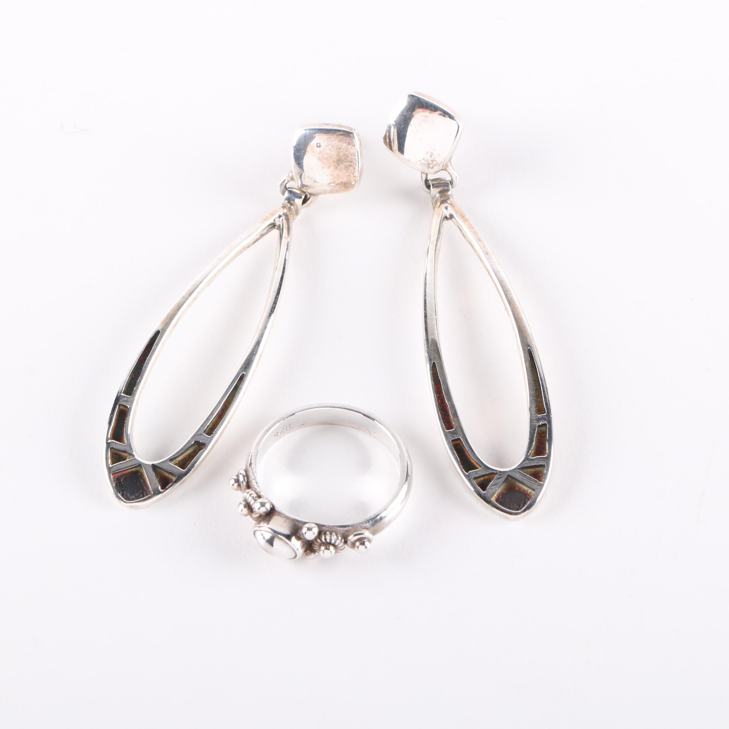 Peterson Chee Sterling Silver Drop Earrings and Unsigned Ring