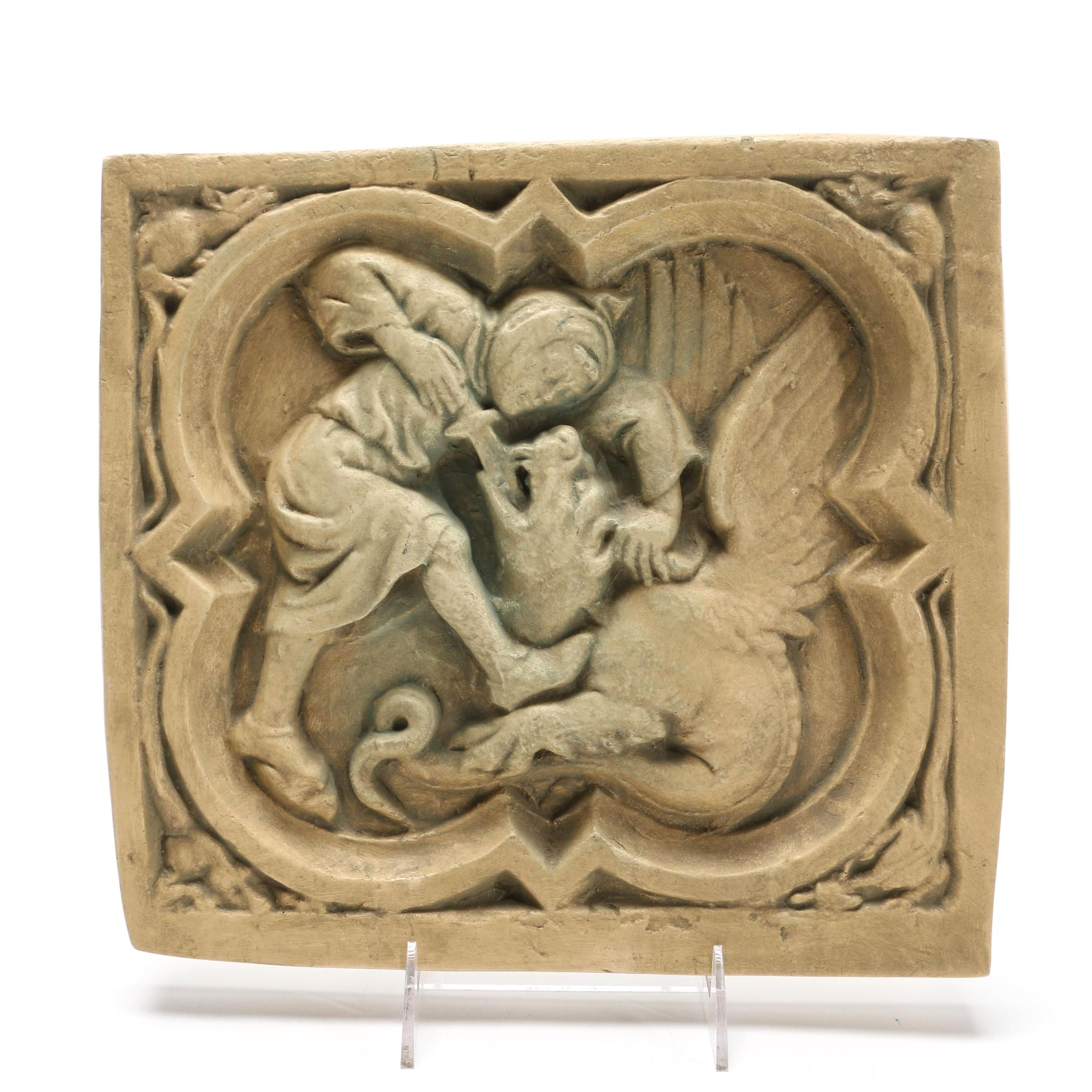 Reproduction Resin Sculpture of St. George Slaying a Dragon