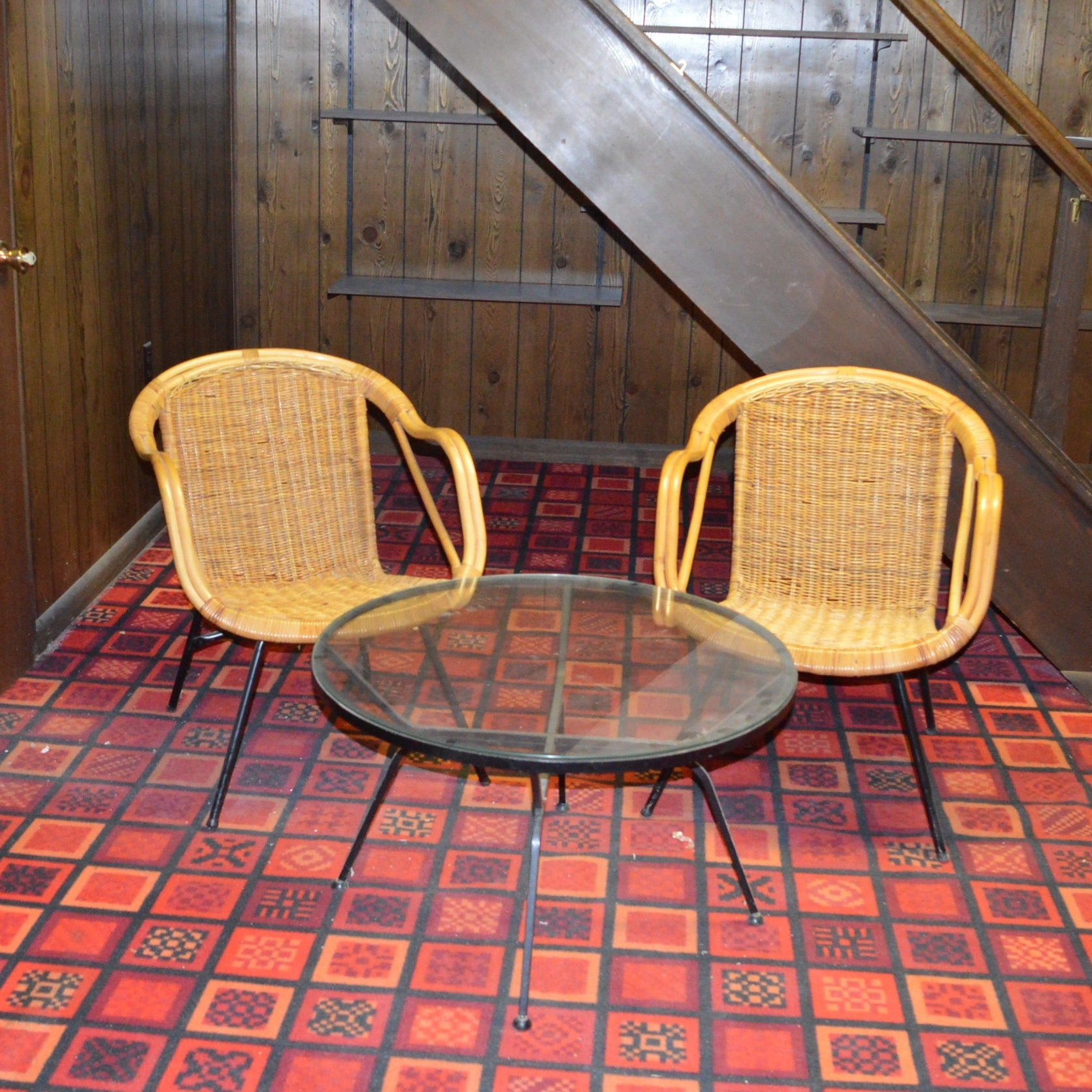 Mid-Century Rattan and Wicker Chairs With Glass Top Coffee Table