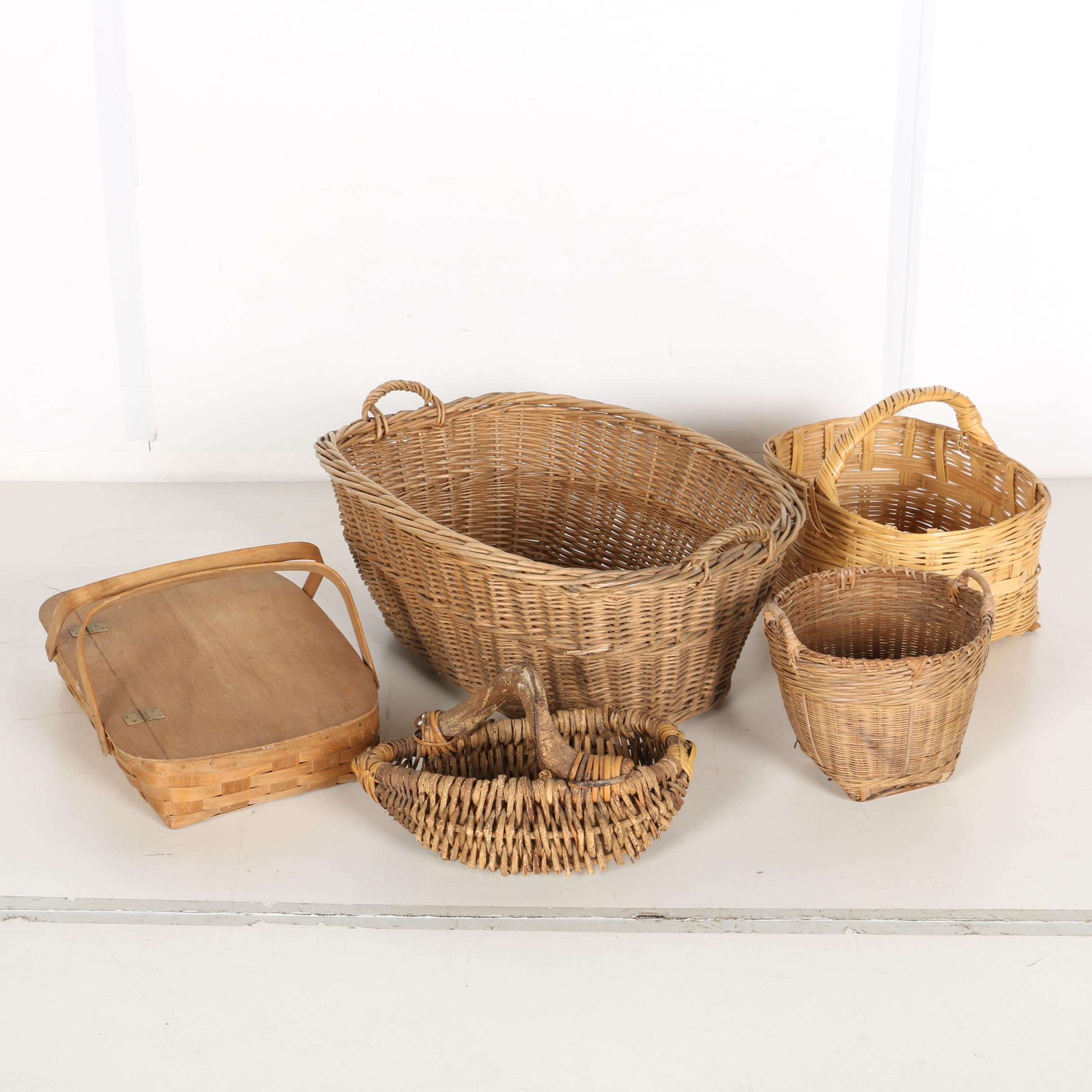 Assortment Of Five Vintage Baskets