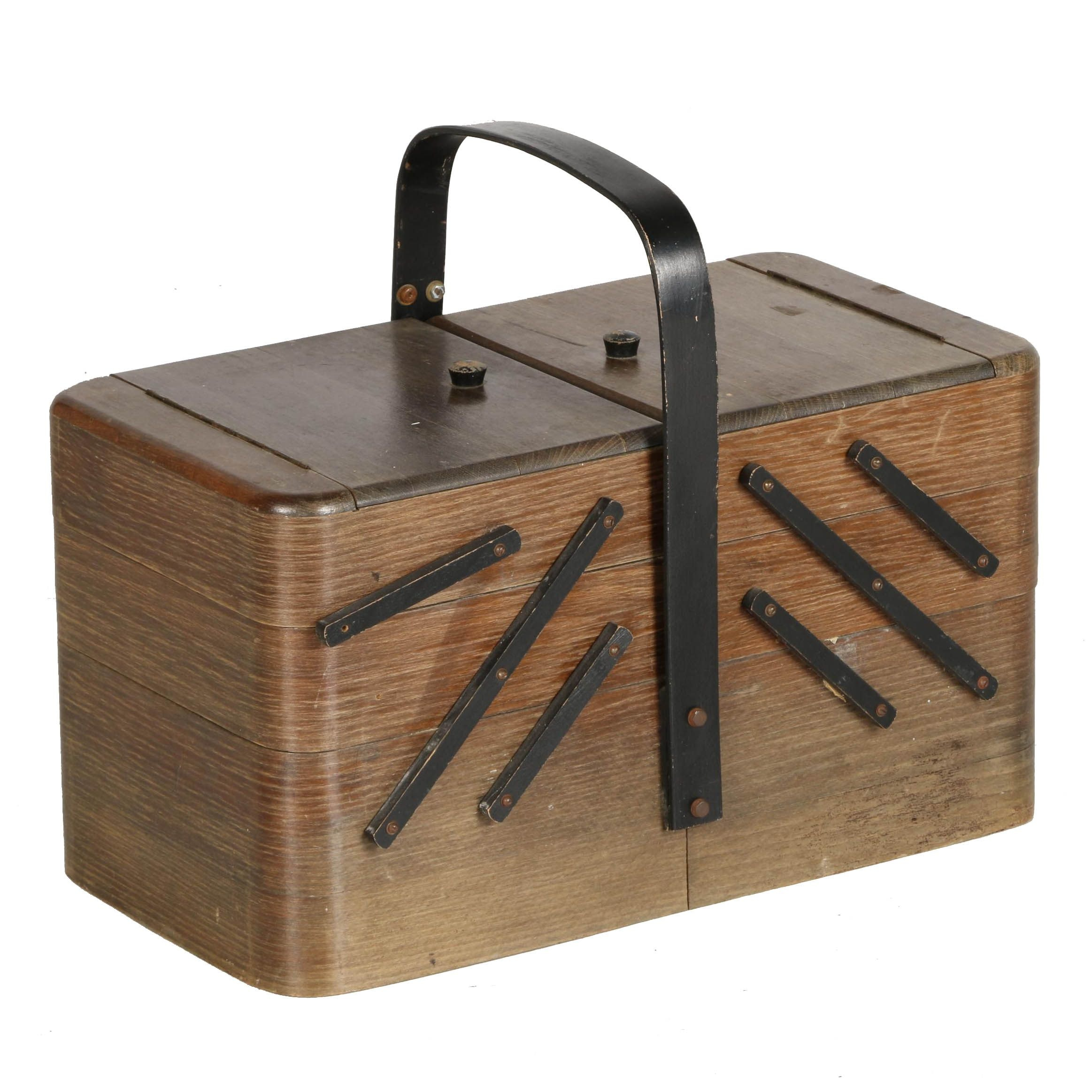Vintage Wooden Sewing Basket With Drawers