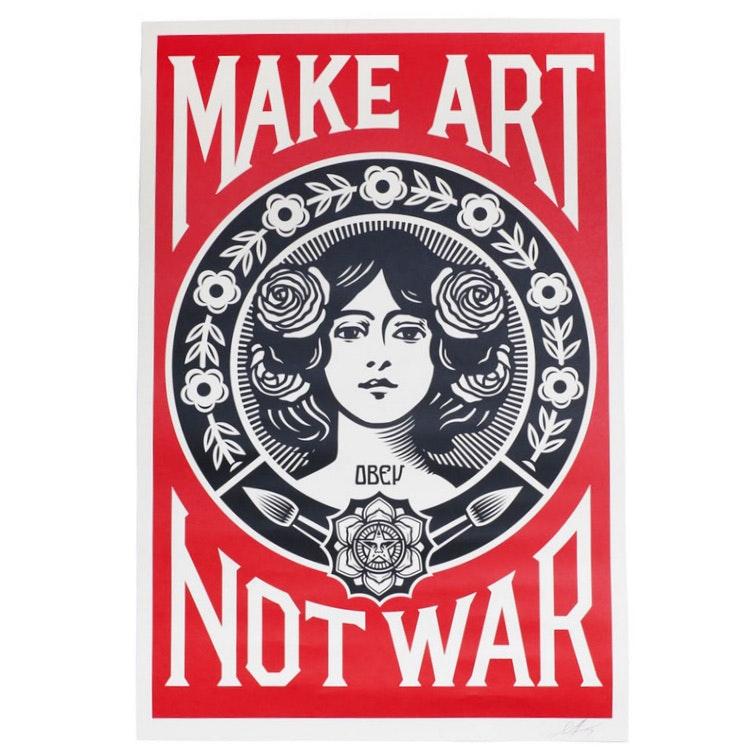 """Shepard Fairey Signed Open Edition Giclée """"Make Art Not War"""""""