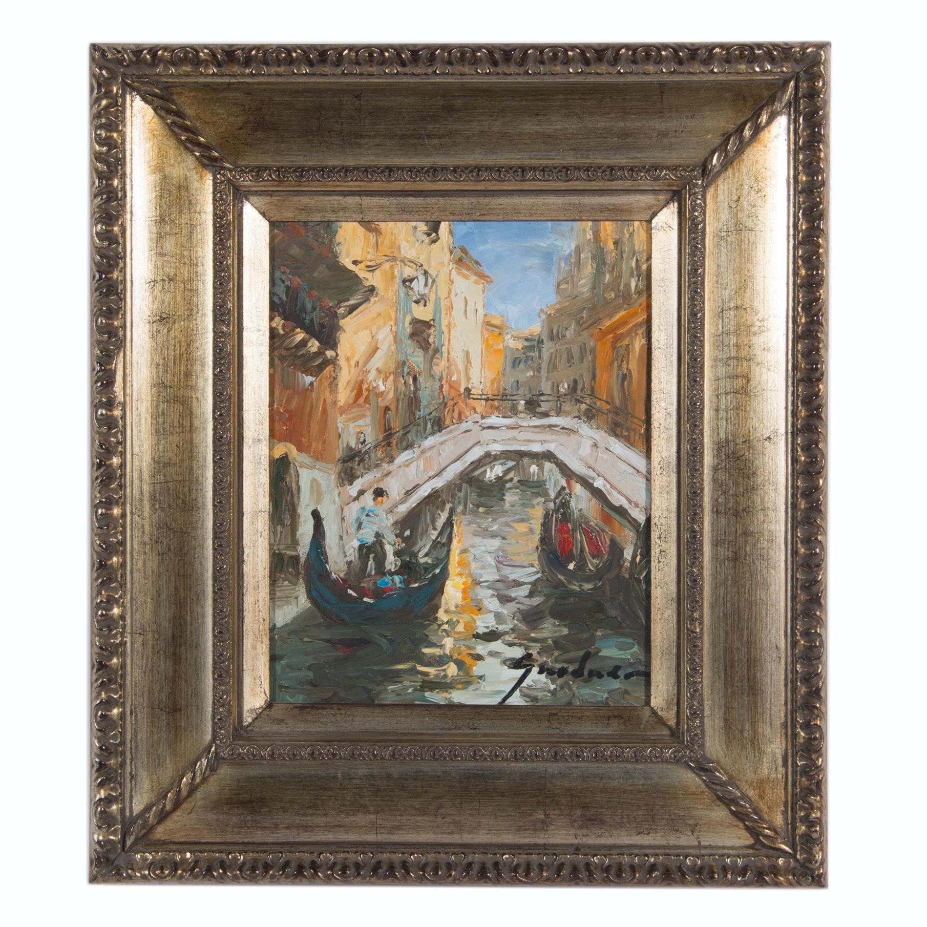 Grodner Original Oil on Canvas of Venice
