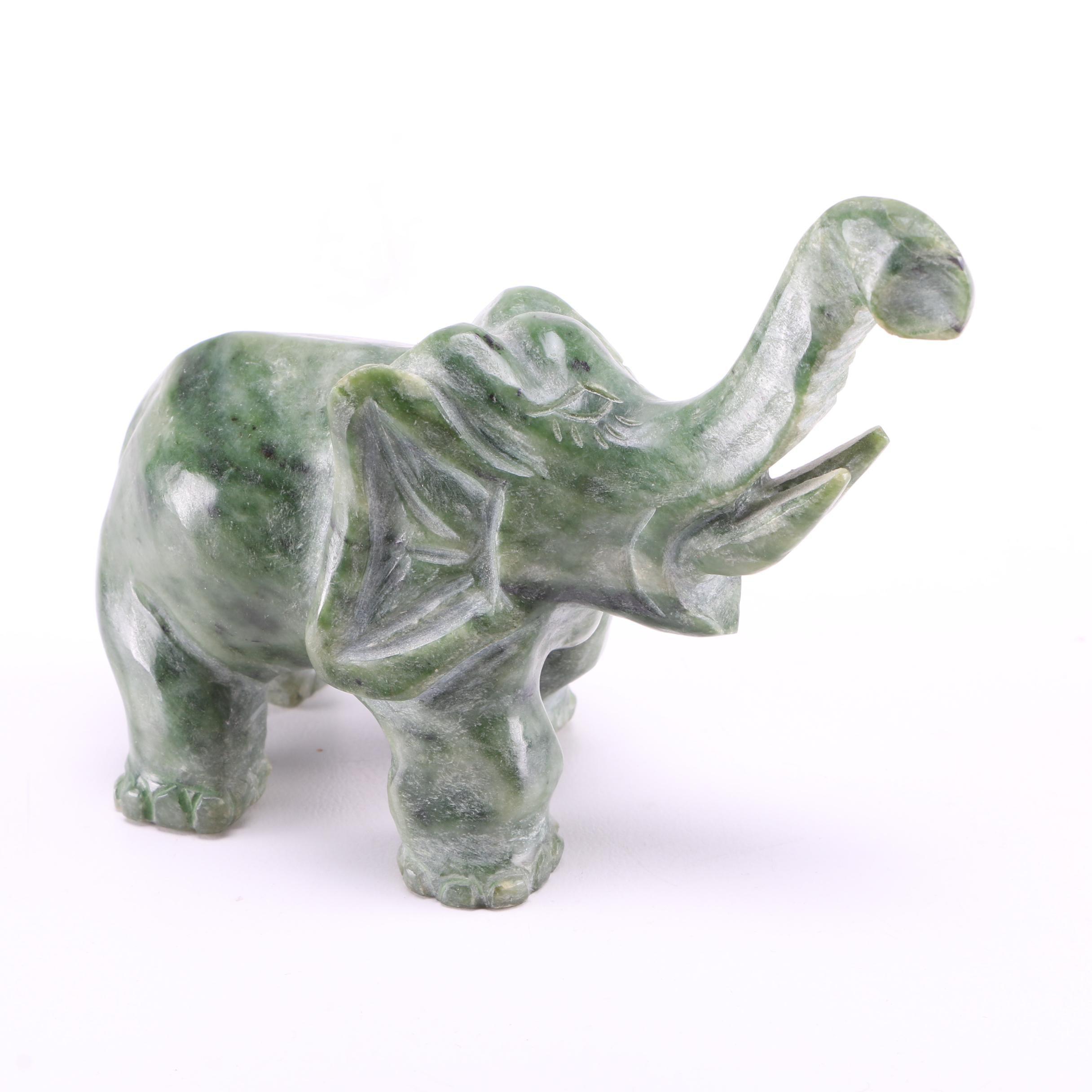 Green Soapstone Elephant Figurine