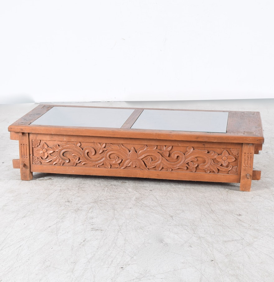 Exotic Indonesian Hand Carved Display Coffee Table Ebth