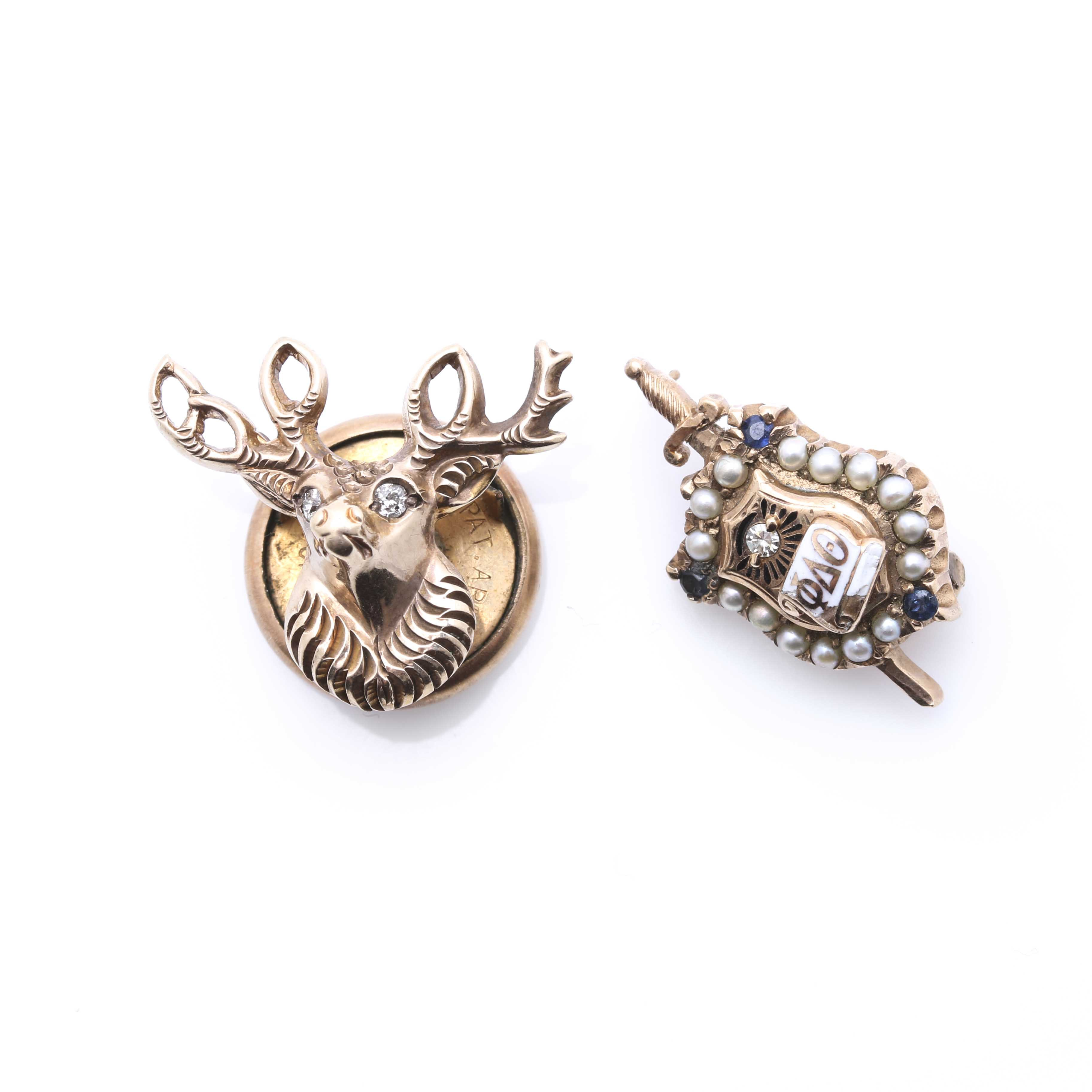 Pair of Fraternal Pins With Diamonds