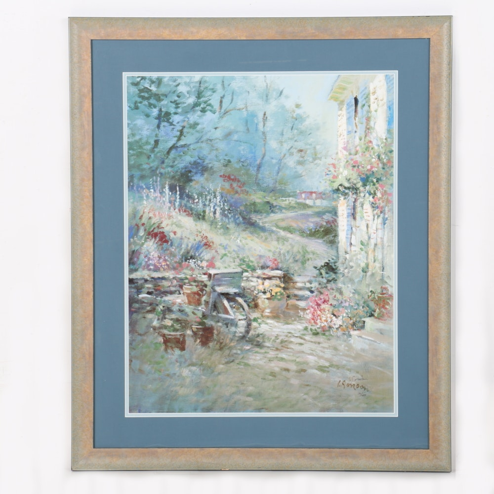 """After L. Gordon Limited Edition Offset Lithograph """"Morning Garden"""""""
