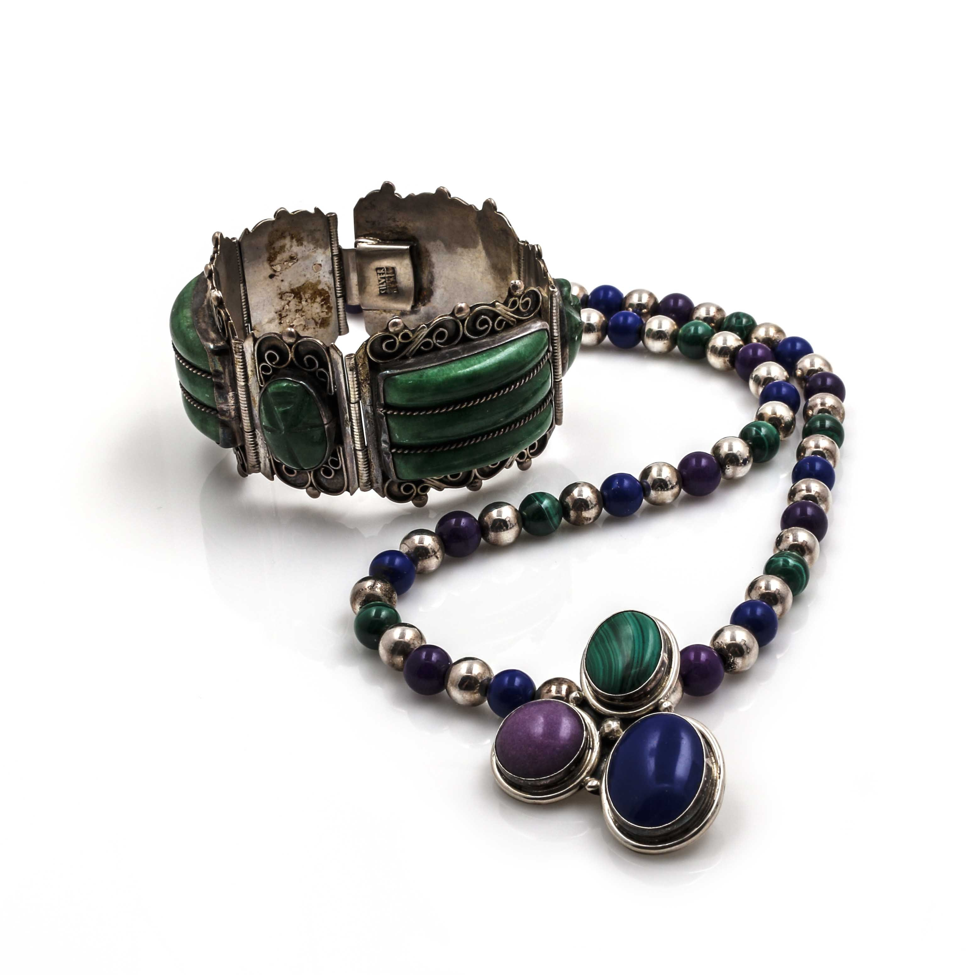 Sterling Silver Semi-Precious Gemstone Bracelet and Necklace