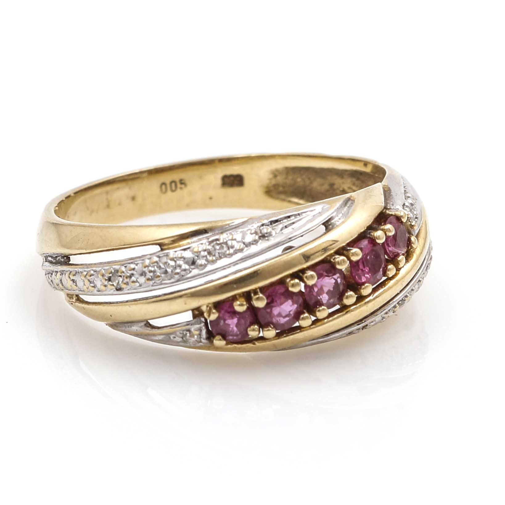 14K Two-Tone Gold Diamond and Ruby Ring