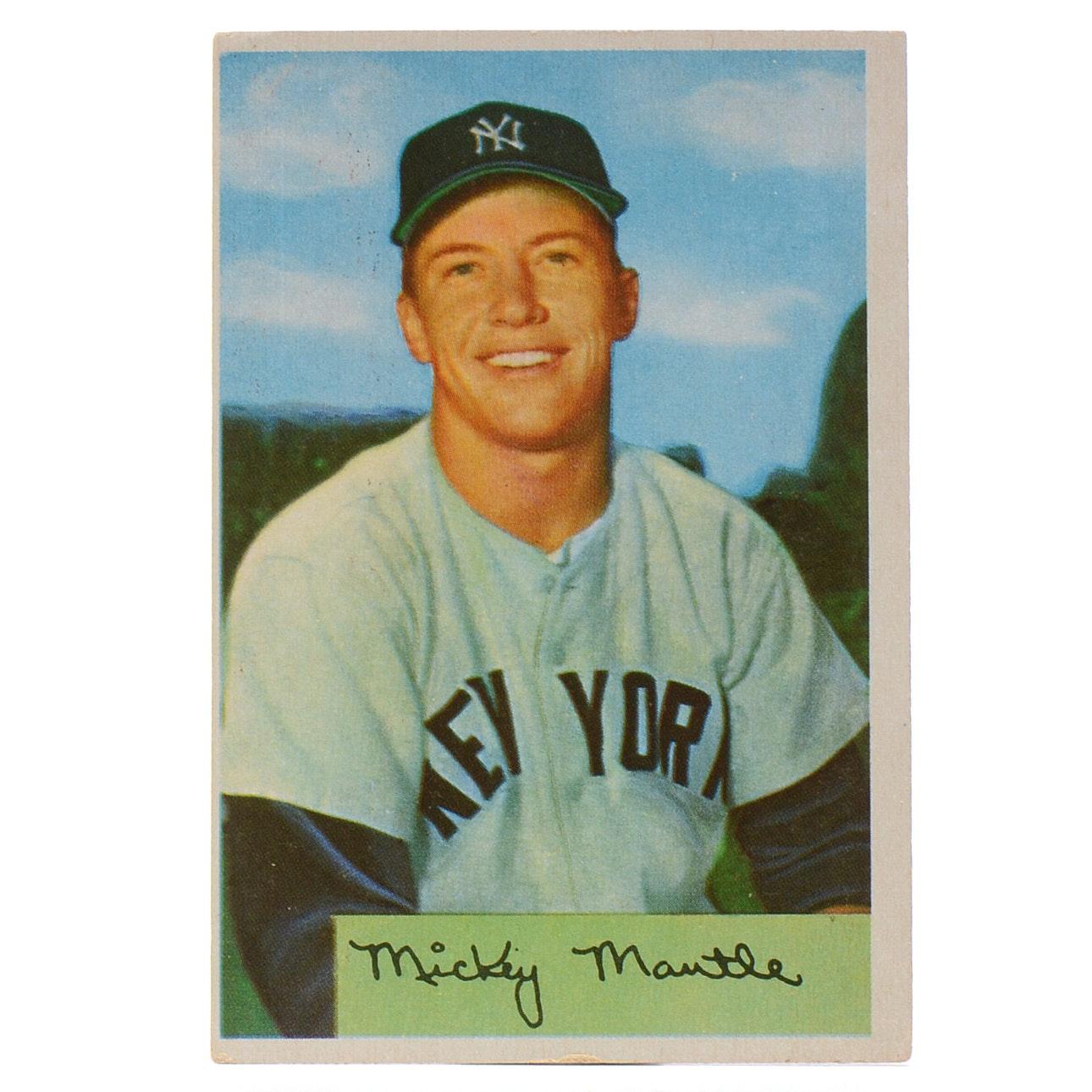 1954 Mickey Mantle New York Yankees Bowman Baseball Card