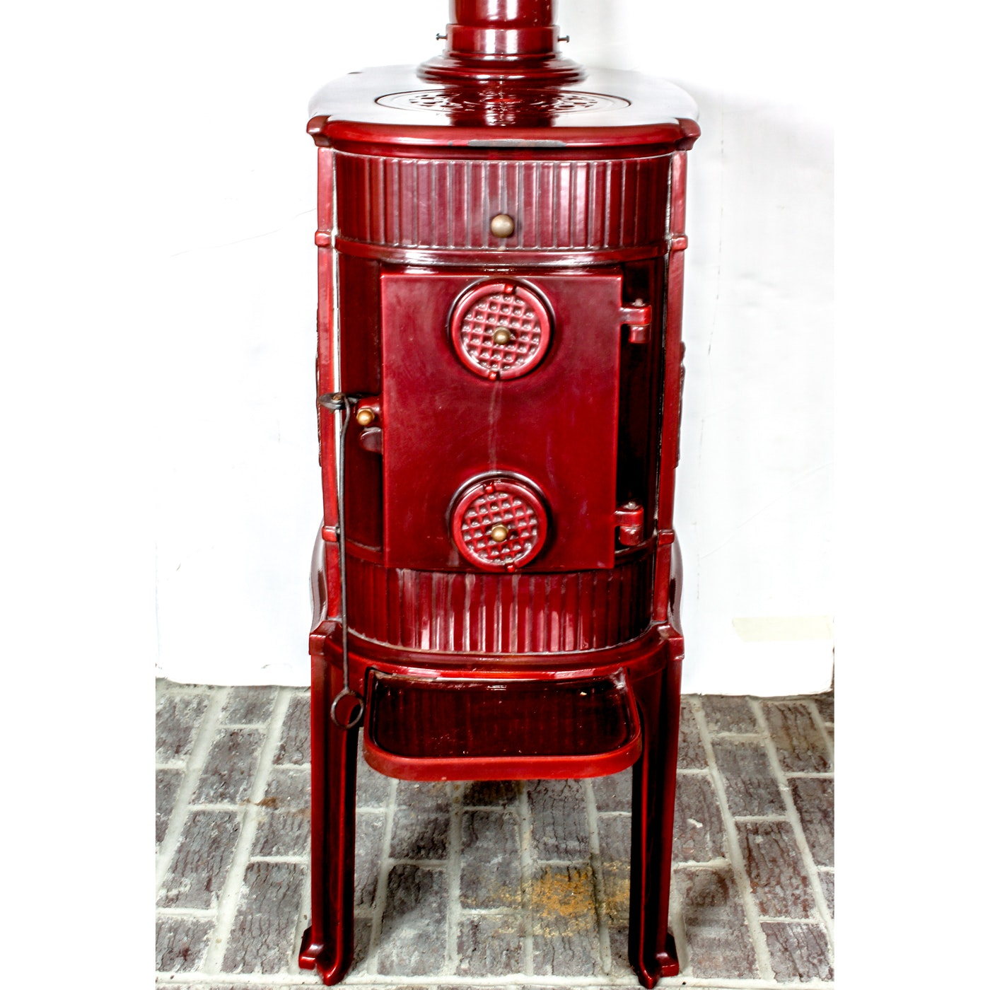 L. Lange of Denmark Enamel Wood Burning Stove