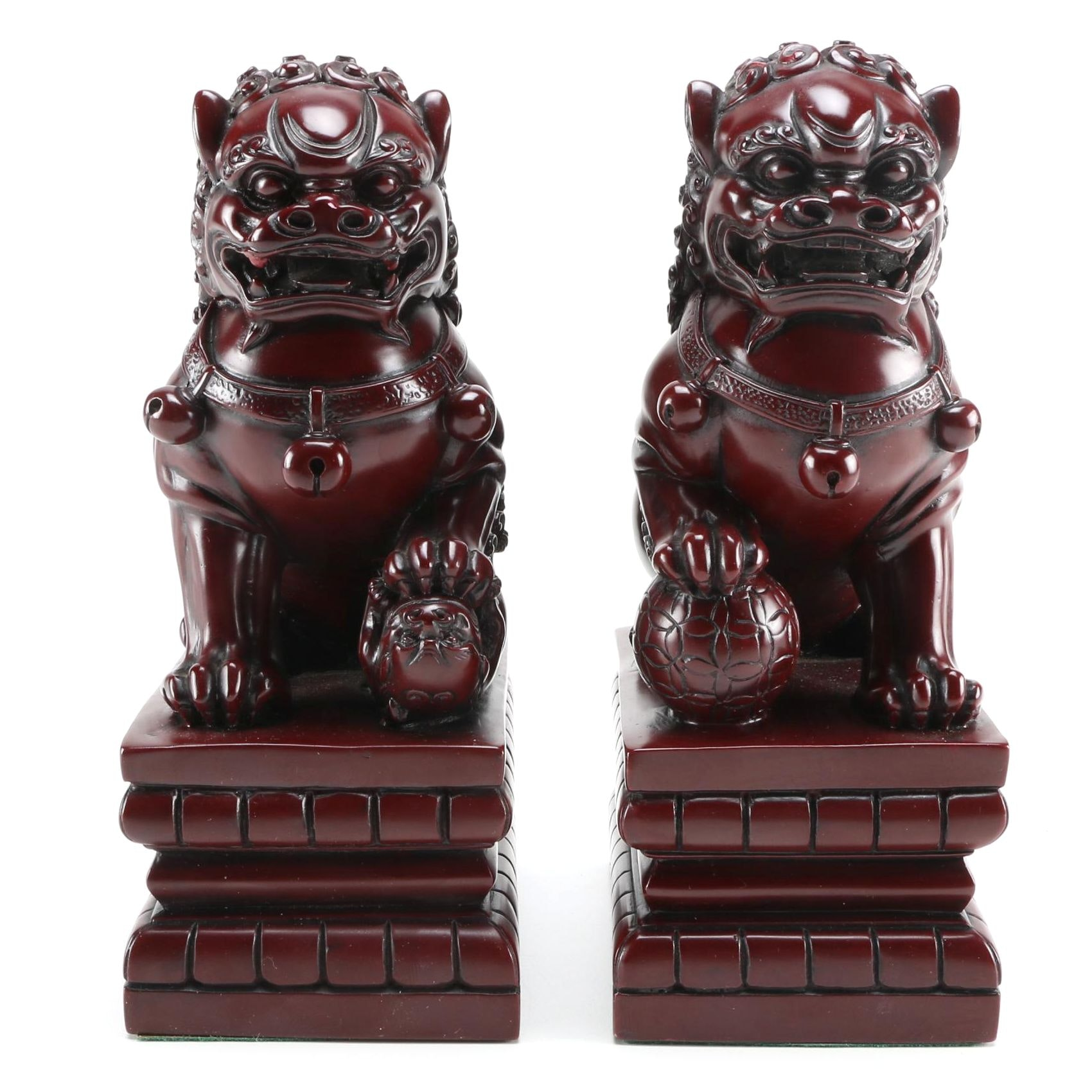 Pair of Chinese Guardian Lion Statuettes
