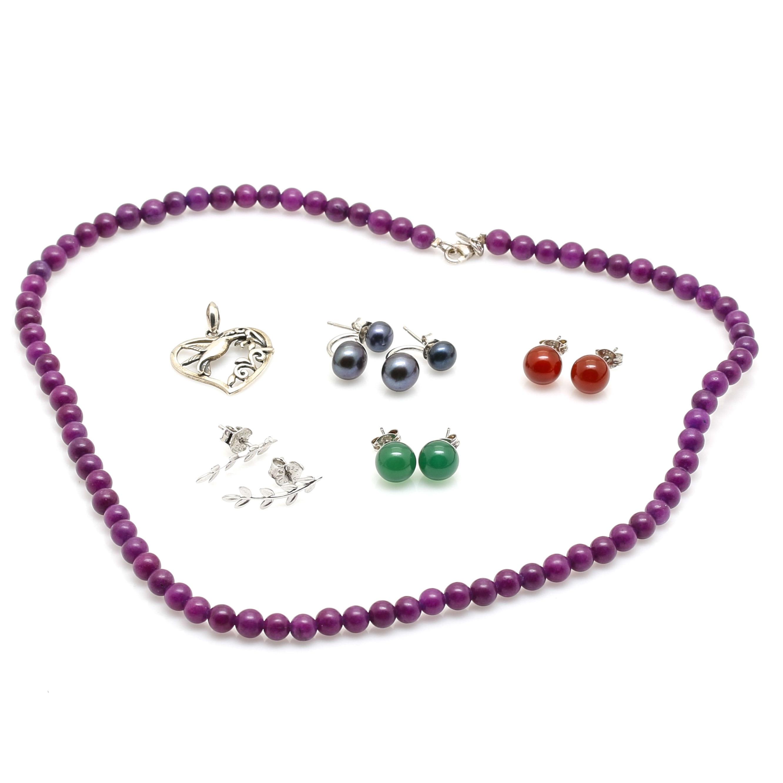 Sterling Silver Quartz, Chalcedony, and Carnelian Jewelry