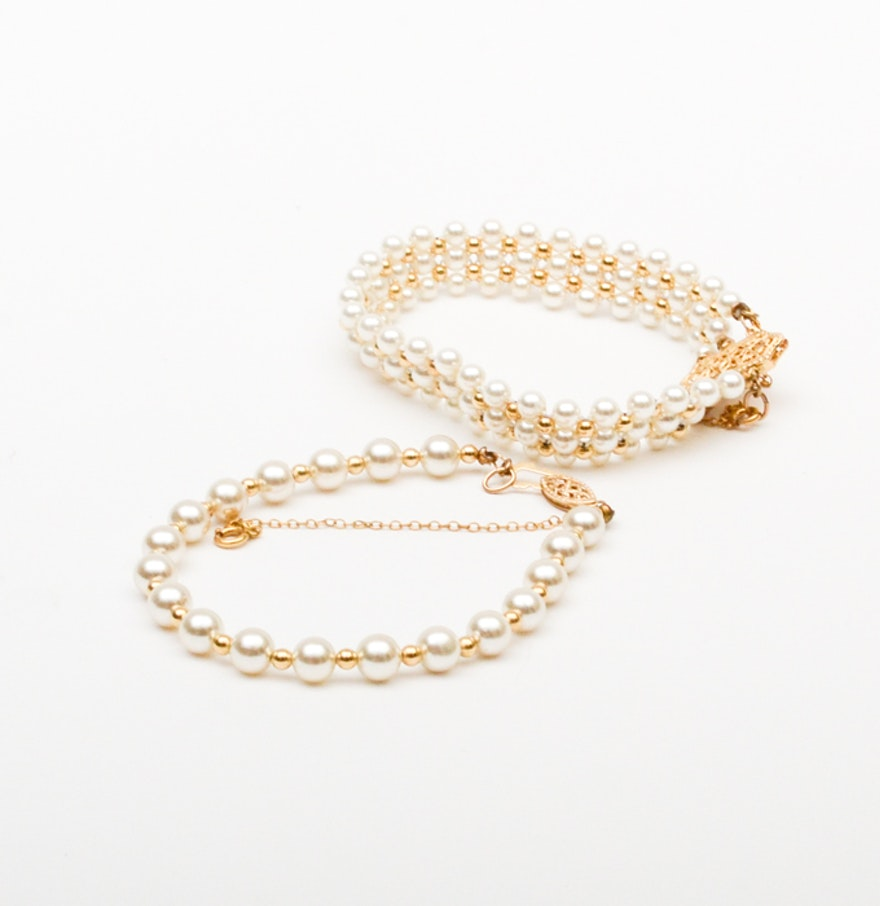 Pair Of Faux Pearl Bracelets With 14k Yellow Gold Clasps