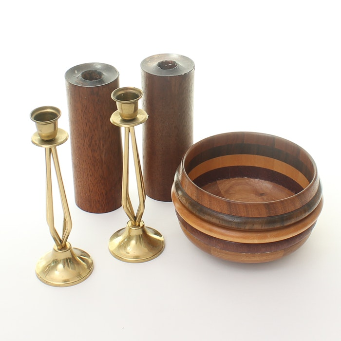 Grouping of Wood and Brass Table Decor