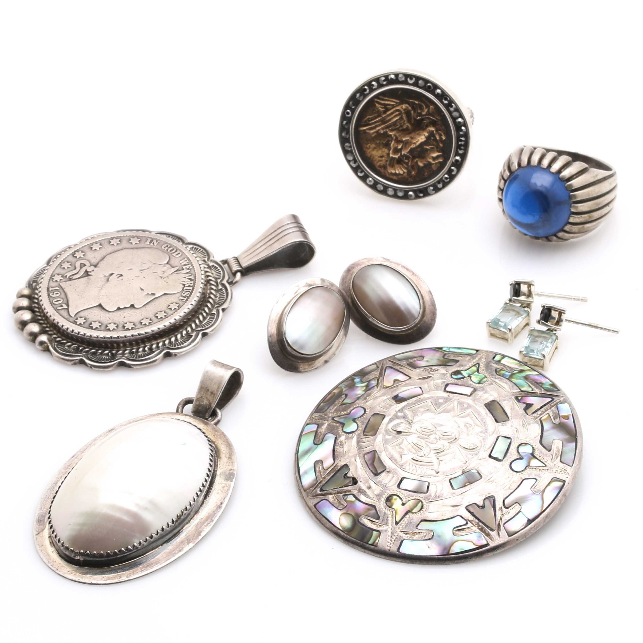 Sterling Silver Shell and Gemstone Jewelry