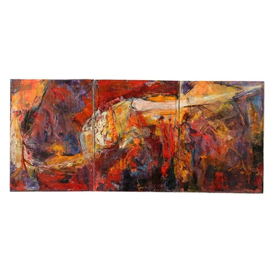 "Denyse Wilhelm Mixed Media on Canvas Triptych ""Kellipots"""