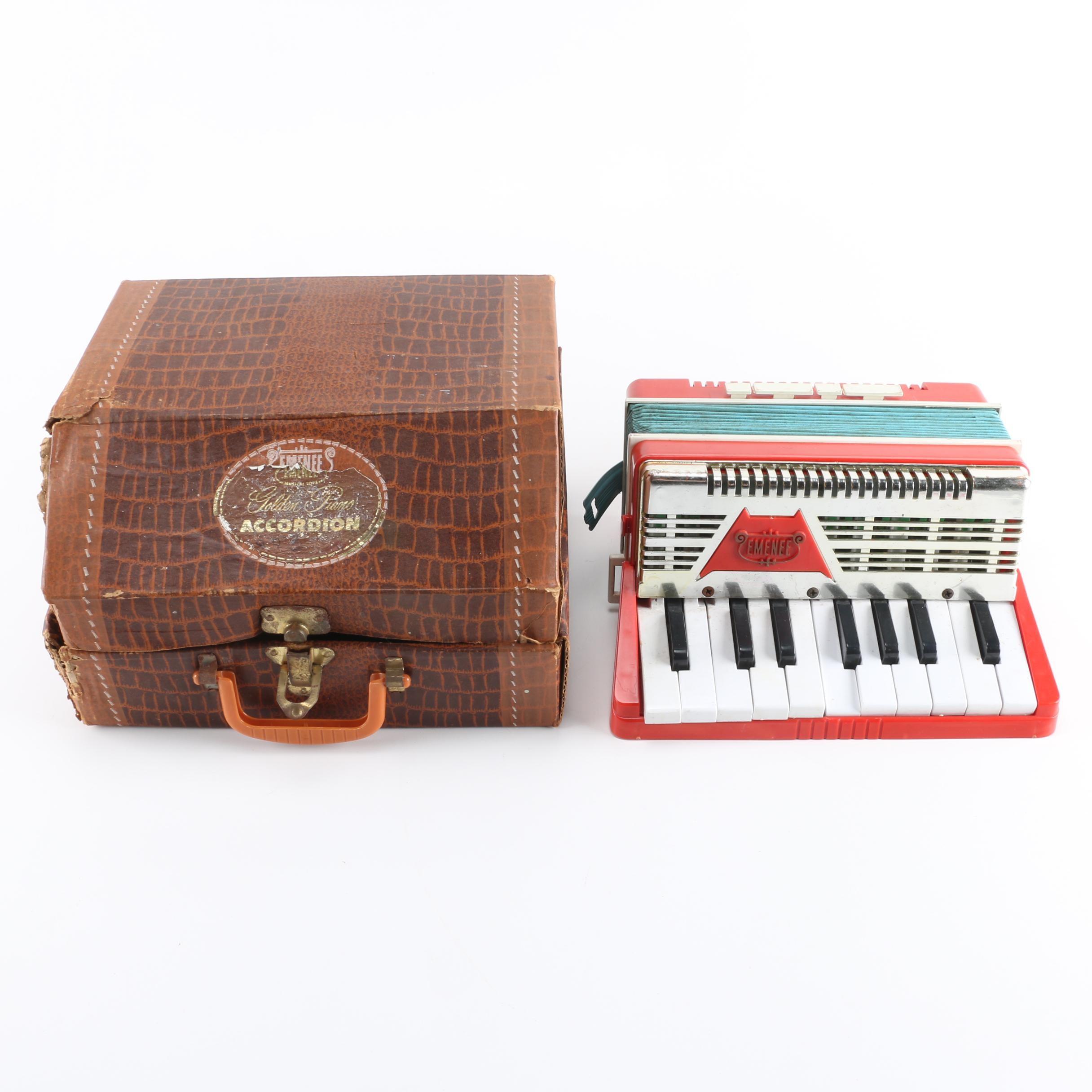 Circa 1950s Emenee Child's Golden Piano Accordion
