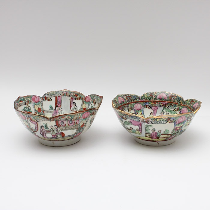 Hand Painted Chinese Rose Medallion Ceramic Bowls