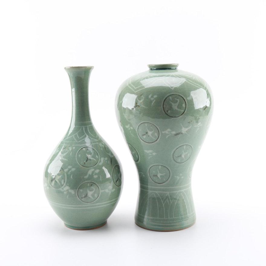 Matching Pair Of Korean Celadon Vases Ebth