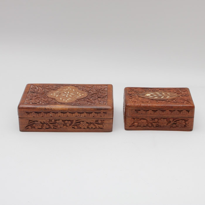 Pair of Decorative Teak Boxes with Bone Inlay