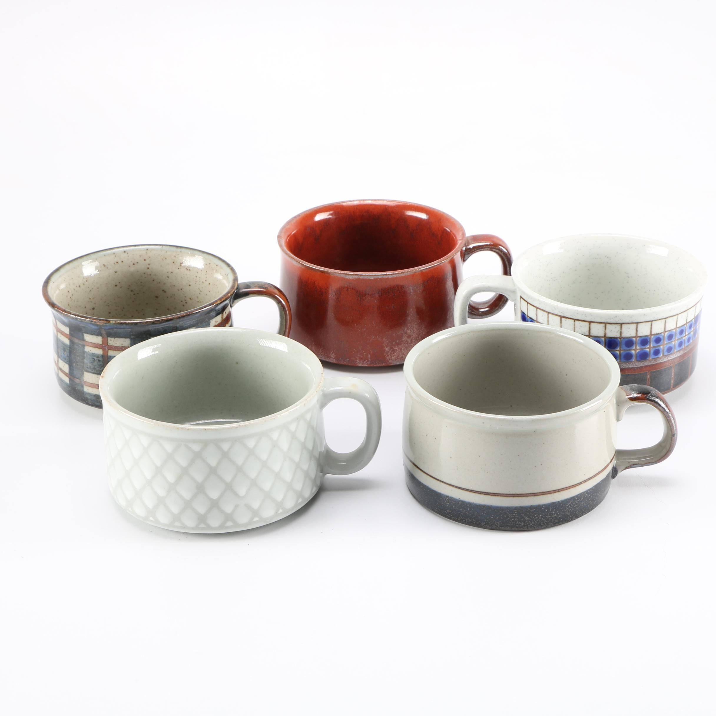 Collection of Stoneware Soup Mugs