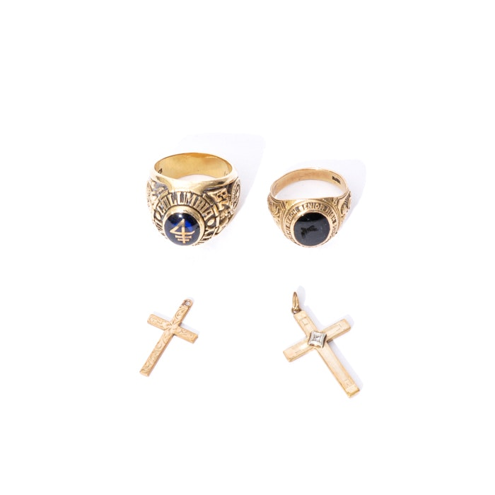 14K and 10K Gold Men's Class Rings and Pair of 10K Gold Cross and Diamond Cross Pendants