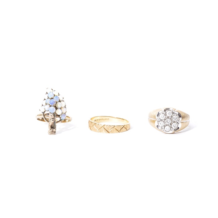 Collection of 14K Gold Diamond and Opal Rings