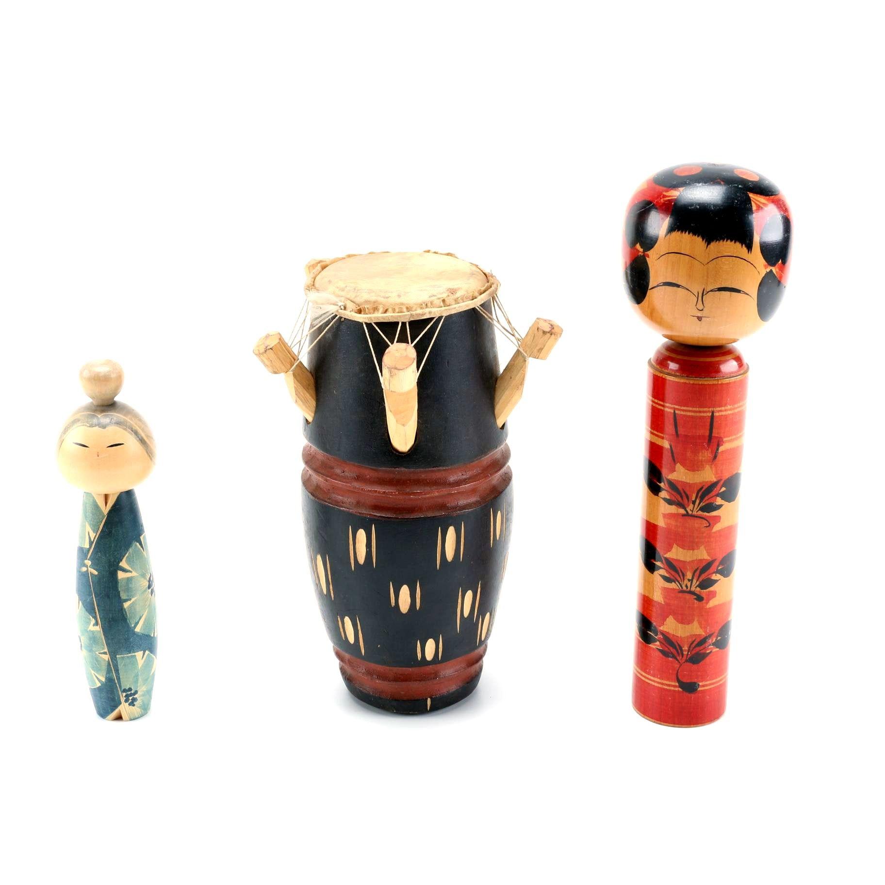 Japanese Kokeshi Dolls and a Kpanlogo Drum