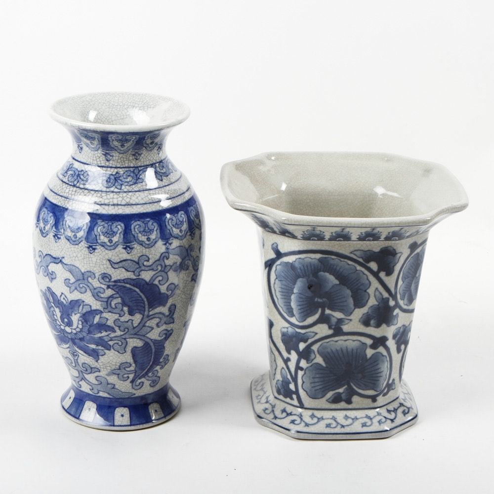 Pair of Blue and White Chinese Vases