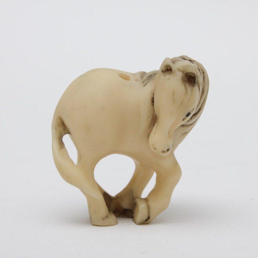 Chinese Carved Bone Horse Bead Ebth