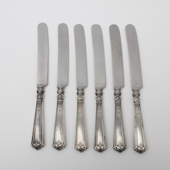 Set of Six Vintage Sterling Silver Handled Knives
