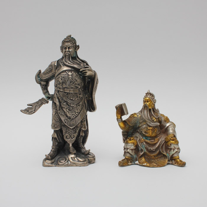 Pair of Chinese Guan Yu Warrior Figurines