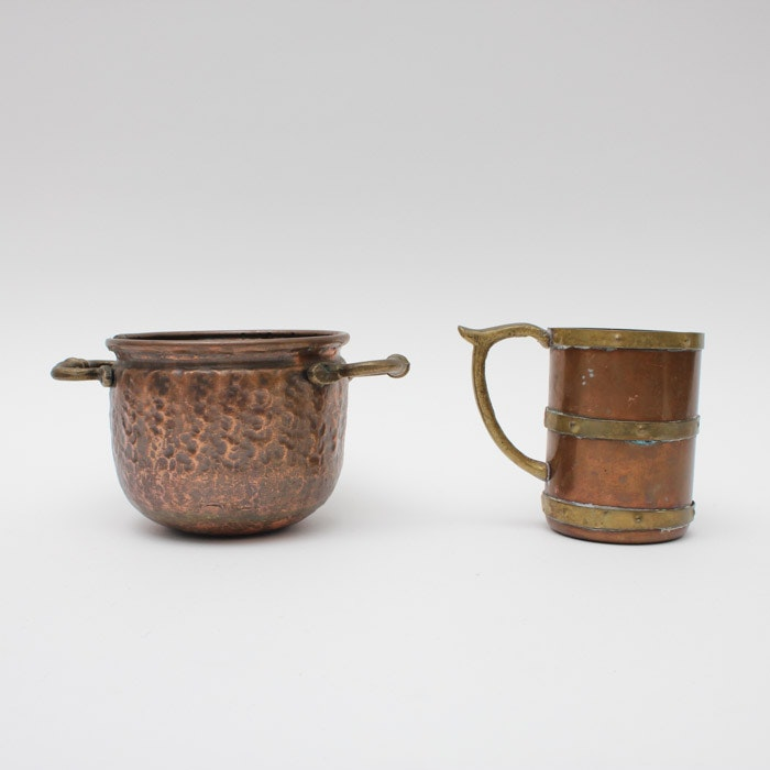 Vintage Copper and Brass Tankard and Pot