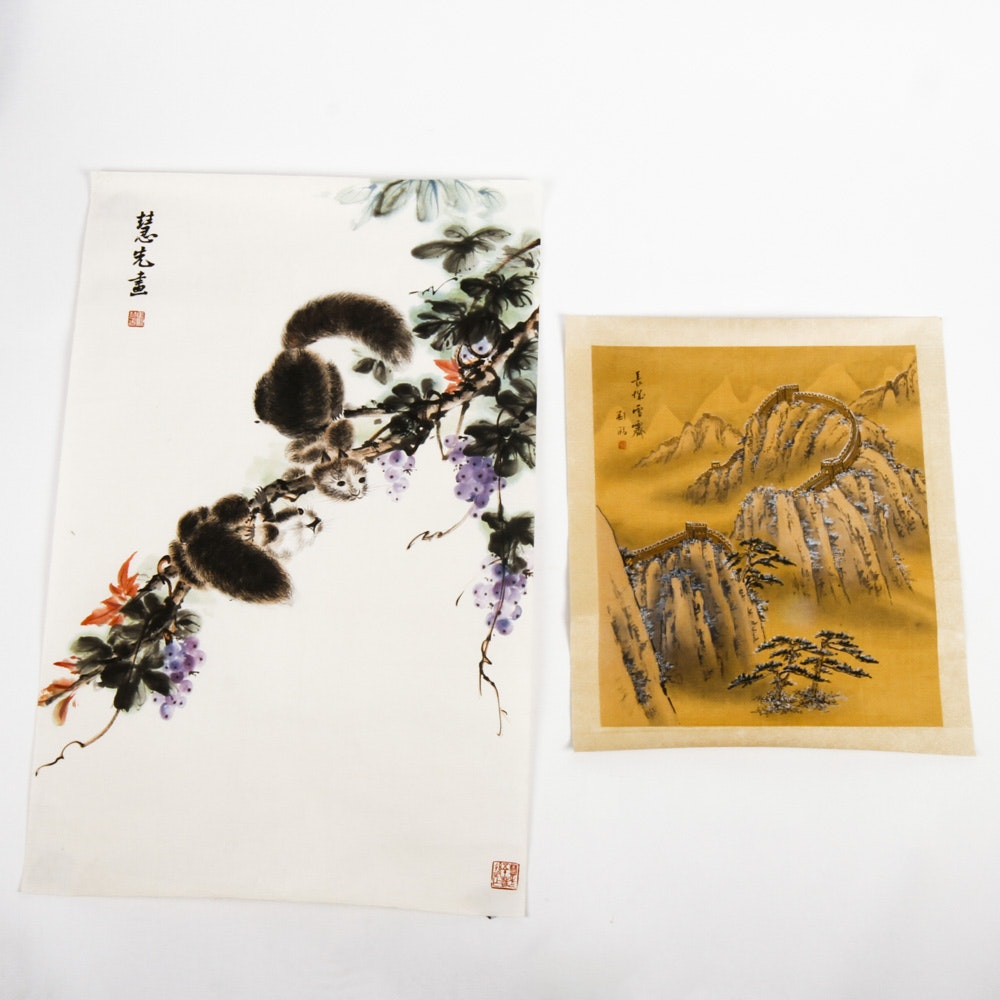 Pair of Chinese Scrolls Including a Watercolor by Ma Huixian