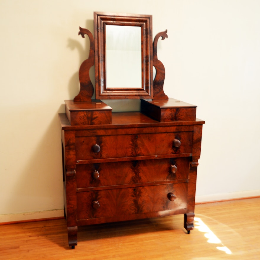 Antique Empire Style Mahogany Dresser With Mirror
