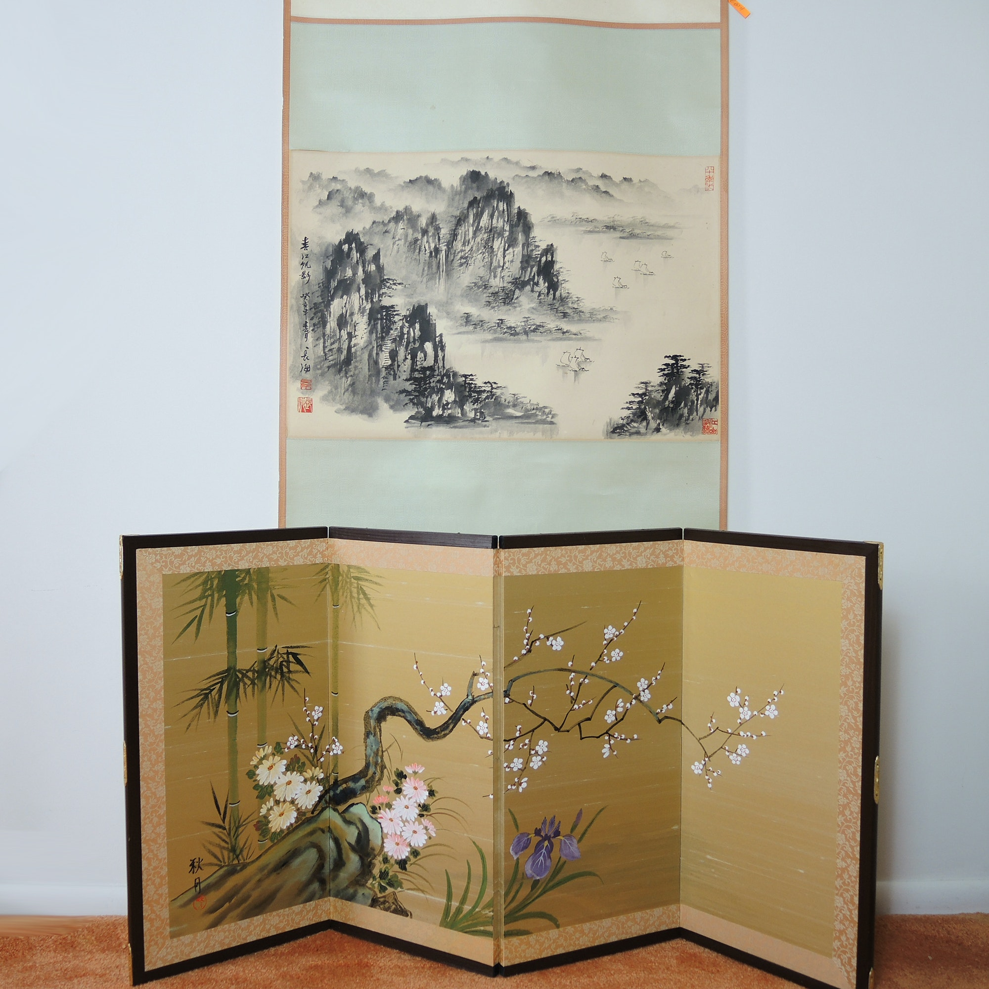 Hand Painted Chinese Hanging Scroll and Japanese Folding Screen