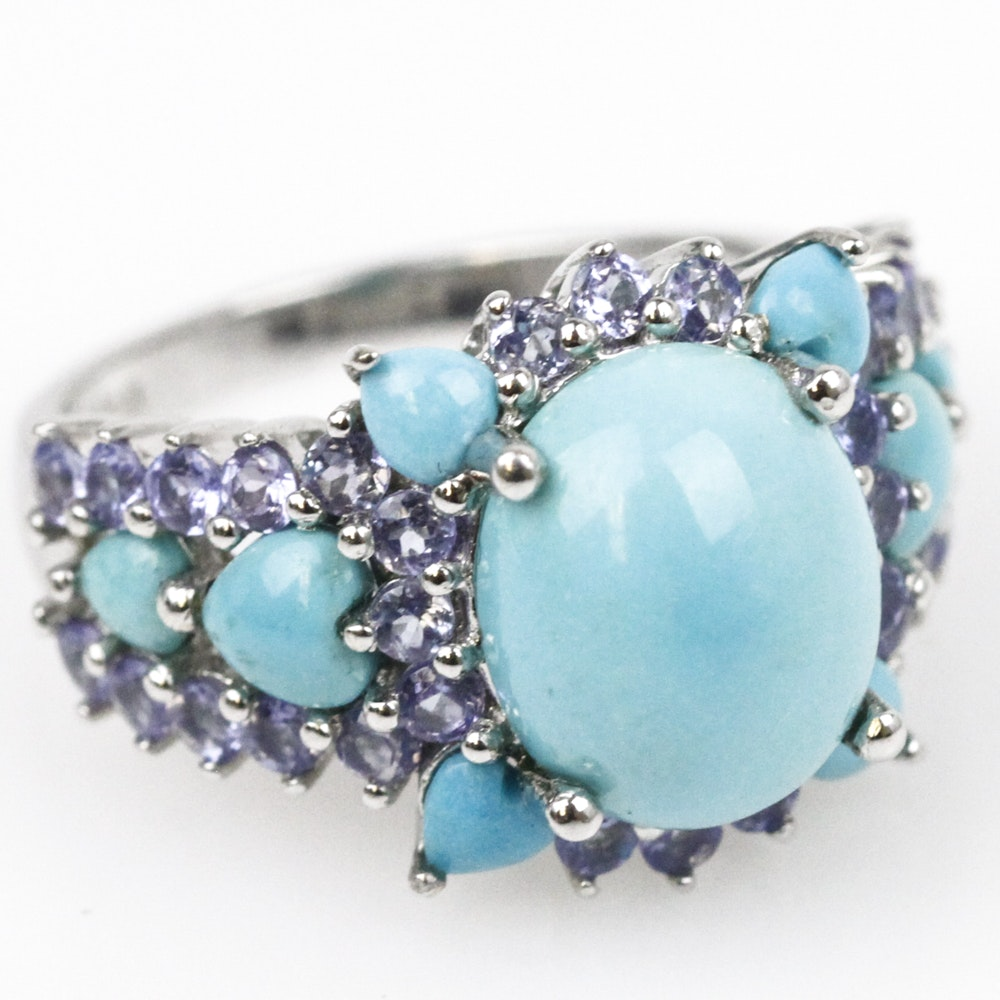14K White Gold, Turquoise, and Tanzanite Statement Ring