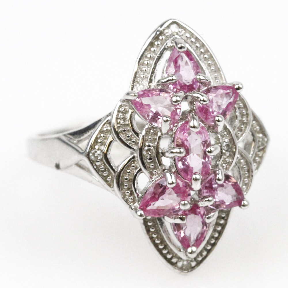 10K White Gold, Pink Sapphire, and Diamond Navette Ring