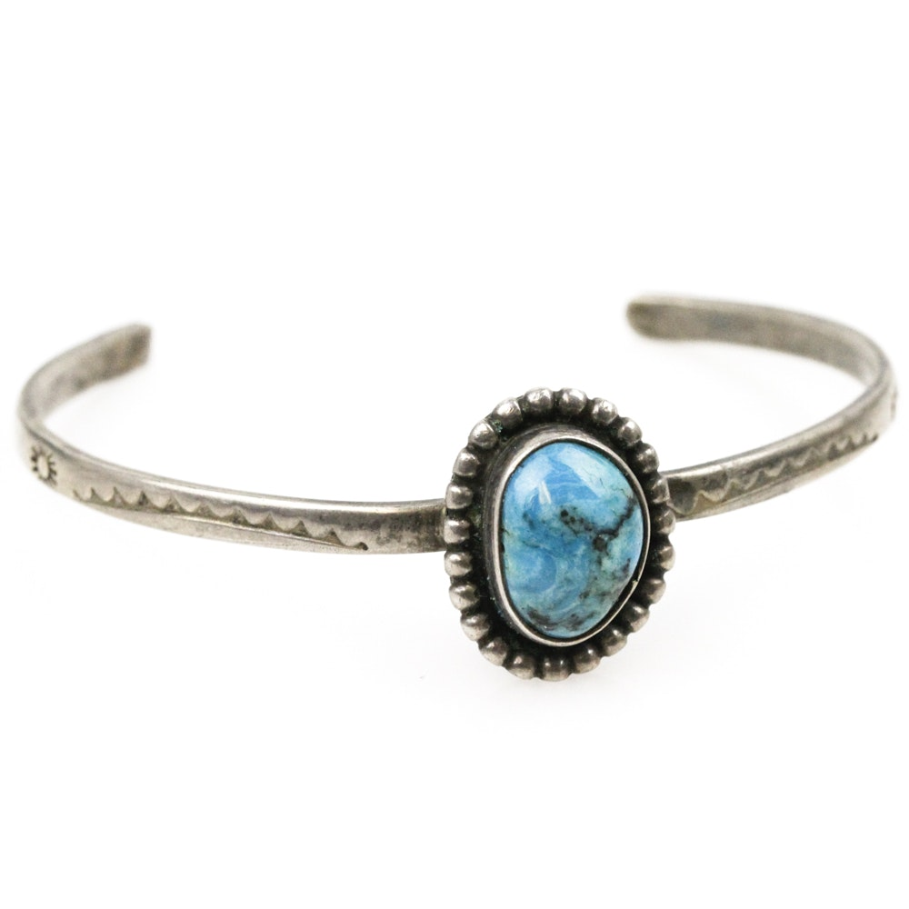 Southwestern Style Sterling Silver and Turquoise Cuff